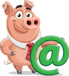 Pig with a Tie Cartoon Vector Character AKA Smokey Hans - Email