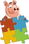 Pig with a Tie Cartoon Vector Character AKA Smokey Hans - Puzzle