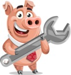 Pig with a Tie Cartoon Vector Character AKA Smokey Hans - Repair