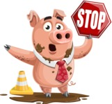 Pig with a Tie Cartoon Vector Character AKA Smokey Hans - Under Construction 1
