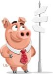 Pig with a Tie Cartoon Vector Character AKA Smokey Hans - Crossroad