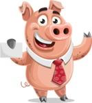 Pig with a Tie Cartoon Vector Character AKA Smokey Hans - Sign 1