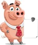 Pig with a Tie Cartoon Vector Character AKA Smokey Hans - Sign 2
