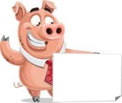 Pig with a Tie Cartoon Vector Character AKA Smokey Hans - Sign 7