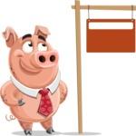 Pig with a Tie Cartoon Vector Character AKA Smokey Hans - Sign 9