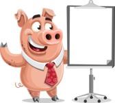 Pig with a Tie Cartoon Vector Character AKA Smokey Hans - Presentation 1