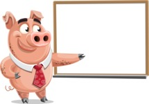 Pig with a Tie Cartoon Vector Character AKA Smokey Hans - Presentation 3