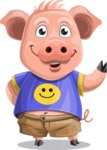 Pig with T-Shirt Cartoon Vector Character AKA Ricky the Happy Piggy - Normal