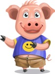 Pig with T-Shirt Cartoon Vector Character AKA Ricky the Happy Piggy - Point 2