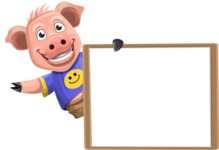Pig with T-Shirt Cartoon Vector Character AKA Ricky the Happy Piggy - Presentation 5