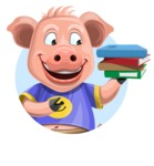 Pig with T-Shirt Cartoon Vector Character AKA Ricky the Happy Piggy - Shape 1