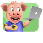 Pig with T-Shirt Cartoon Vector Character AKA Ricky the Happy Piggy - Shape 2