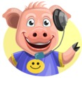 Pig with T-Shirt Cartoon Vector Character AKA Ricky the Happy Piggy - Shape 3
