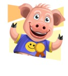 Pig with T-Shirt Cartoon Vector Character AKA Ricky the Happy Piggy - Shape 4