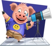 Pig with T-Shirt Cartoon Vector Character AKA Ricky the Happy Piggy - Shape 5