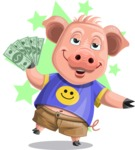 Pig with T-Shirt Cartoon Vector Character AKA Ricky the Happy Piggy - Shape 6