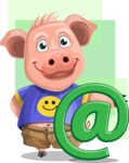 Pig with T-Shirt Cartoon Vector Character AKA Ricky the Happy Piggy - Shape 7