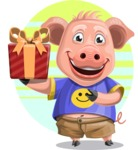 Pig with T-Shirt Cartoon Vector Character AKA Ricky the Happy Piggy - Shape 8