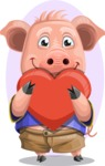 Pig with T-Shirt Cartoon Vector Character AKA Ricky the Happy Piggy - Shape 9