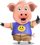 Pig with T-Shirt Cartoon Vector Character AKA Ricky the Happy Piggy - Direct Attention