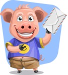Pig with T-Shirt Cartoon Vector Character AKA Ricky the Happy Piggy - Shape 11