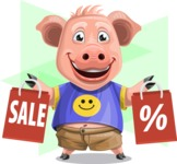 Pig with T-Shirt Cartoon Vector Character AKA Ricky the Happy Piggy - Shape 12
