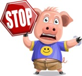Pig with T-Shirt Cartoon Vector Character AKA Ricky the Happy Piggy - Stop