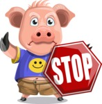 Pig with T-Shirt Cartoon Vector Character AKA Ricky the Happy Piggy - Stop 2
