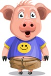 Pig with T-Shirt Cartoon Vector Character AKA Ricky the Happy Piggy - Stunned