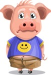 Pig with T-Shirt Cartoon Vector Character AKA Ricky the Happy Piggy - Sad