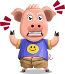 Pig with T-Shirt Cartoon Vector Character AKA Ricky the Happy Piggy - Angry