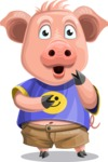 Pig with T-Shirt Cartoon Vector Character AKA Ricky the Happy Piggy - Shocked