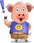 Pig with T-Shirt Cartoon Vector Character AKA Ricky the Happy Piggy - Attention