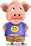 Pig with T-Shirt Cartoon Vector Character AKA Ricky the Happy Piggy - Roll Eyes