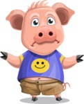 Pig with T-Shirt Cartoon Vector Character AKA Ricky the Happy Piggy - Lost