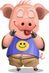 Pig with T-Shirt Cartoon Vector Character AKA Ricky the Happy Piggy - Silly Face