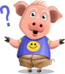 Pig with T-Shirt Cartoon Vector Character AKA Ricky the Happy Piggy - Confused