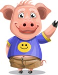 Pig with T-Shirt Cartoon Vector Character AKA Ricky the Happy Piggy - GoodBye