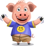 Pig with T-Shirt Cartoon Vector Character AKA Ricky the Happy Piggy - Hello