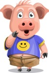 Pig with T-Shirt Cartoon Vector Character AKA Ricky the Happy Piggy - Oops