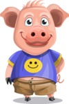 Pig with T-Shirt Cartoon Vector Character AKA Ricky the Happy Piggy - Patient
