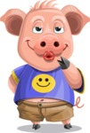 Pig with T-Shirt Cartoon Vector Character AKA Ricky the Happy Piggy - Making Face