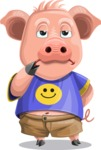 Pig with T-Shirt Cartoon Vector Character AKA Ricky the Happy Piggy - Bored