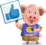 Pig with T-Shirt Cartoon Vector Character AKA Ricky the Happy Piggy - Thumbs Up