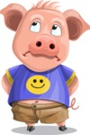 Pig with T-Shirt Cartoon Vector Character AKA Ricky the Happy Piggy - Bored 2