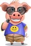 Pig with T-Shirt Cartoon Vector Character AKA Ricky the Happy Piggy - Sunglasses