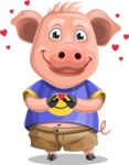 Pig with T-Shirt Cartoon Vector Character AKA Ricky the Happy Piggy - Show Love