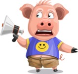 Pig with T-Shirt Cartoon Vector Character AKA Ricky the Happy Piggy - Loudspeaker