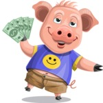 Pig with T-Shirt Cartoon Vector Character AKA Ricky the Happy Piggy - Show me the Money