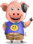 Pig with T-Shirt Cartoon Vector Character AKA Ricky the Happy Piggy - Support